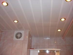 Ванная комната с реечным потолком