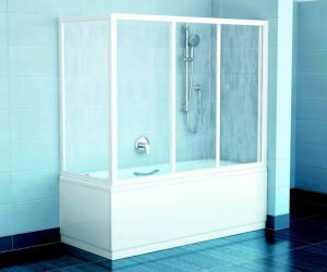 Жесткая стеклянная шторка для ванной