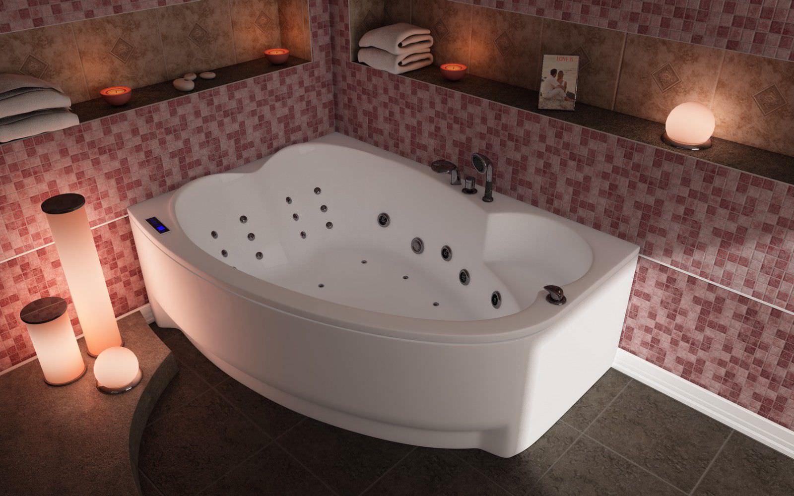 Акриловая угловая ассиметричная ванна