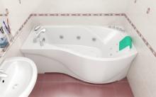 Размеры и установка угловых ассиметричных акриловых ванн
