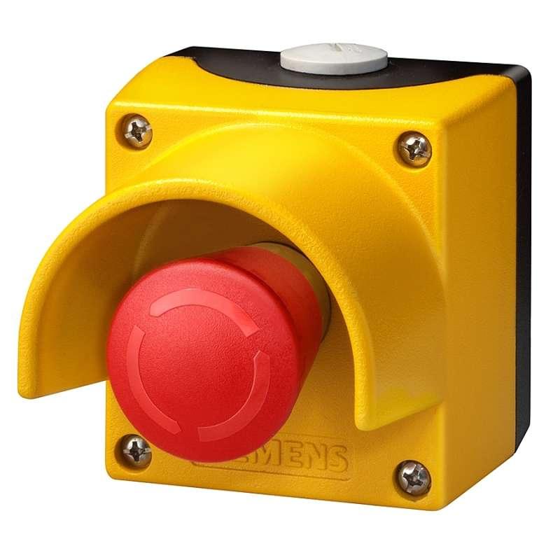 Желтый пост управления с красной кнопкой
