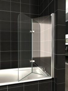 Раскладывающаяся стеклянная шторка для ванной