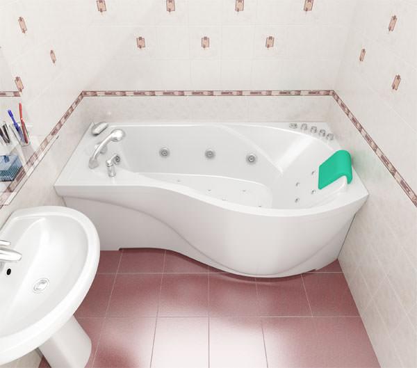 Угловая акриловая асимметричная ванна