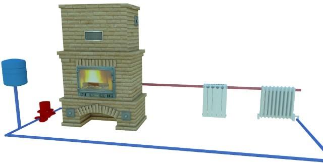 Схема автономного каминного отопления
