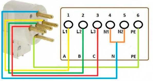 Схема подключения к трехфазной сети