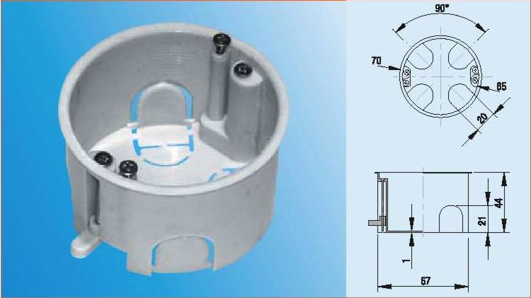 Типовая коробка для монтажа розеток в полые стены или перекрытия из гипсокартона